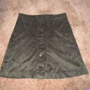 Green Suede Skirt- Juniors Size 1